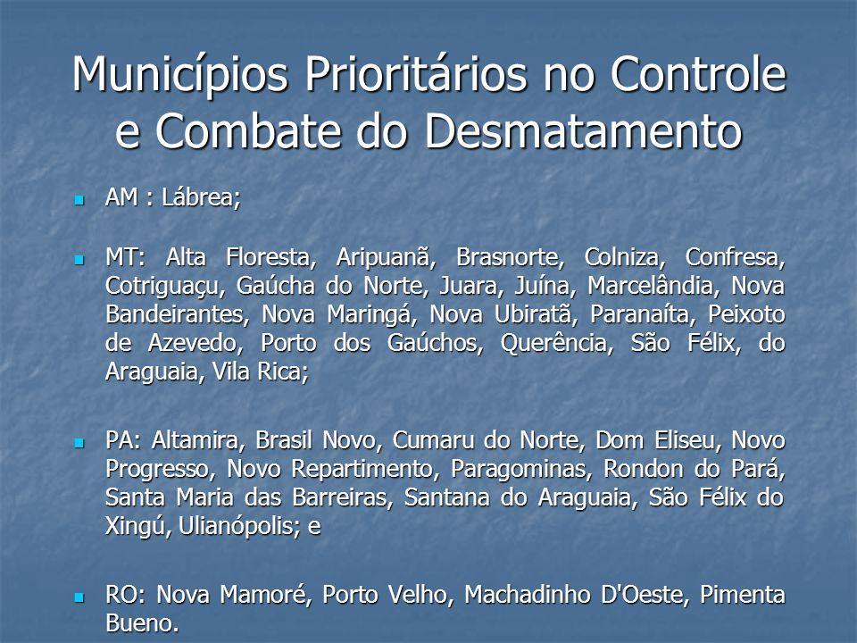 Municípios Prioritários no Controle e Combate do Desmatamento