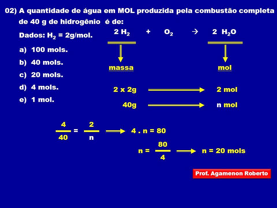 02) A quantidade de água em MOL produzida pela combustão completa