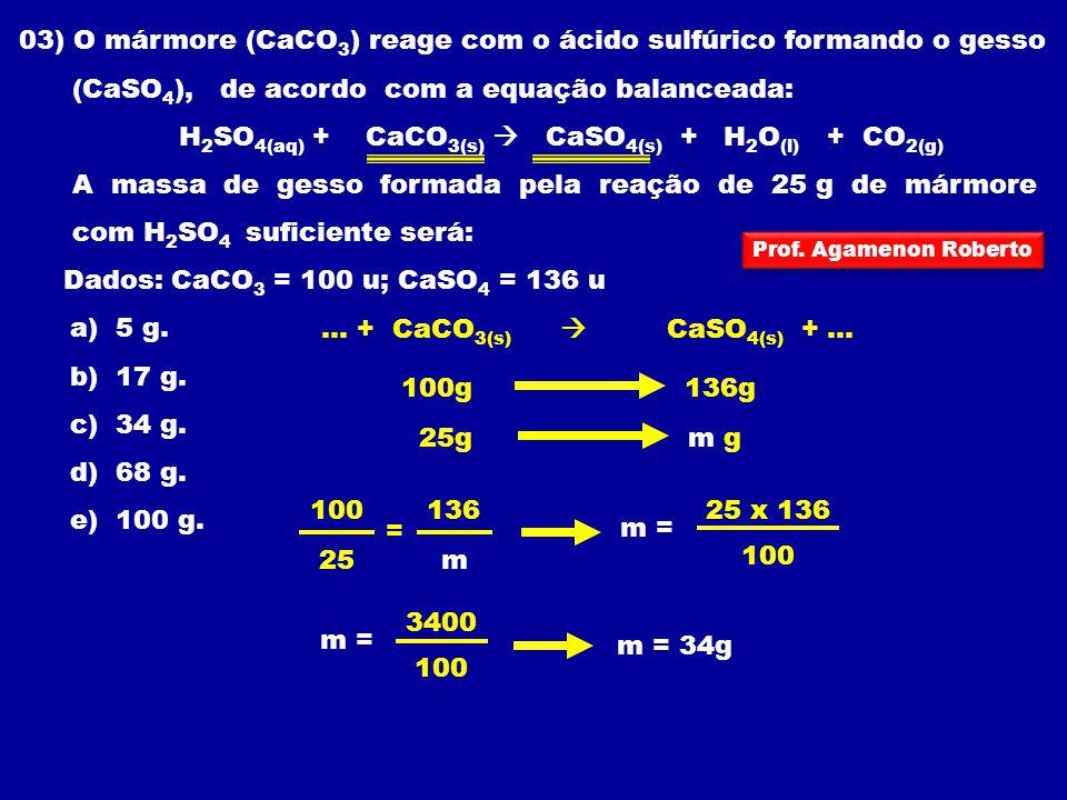 03) O mármore (CaCO3) reage com o ácido sulfúrico formando o gesso