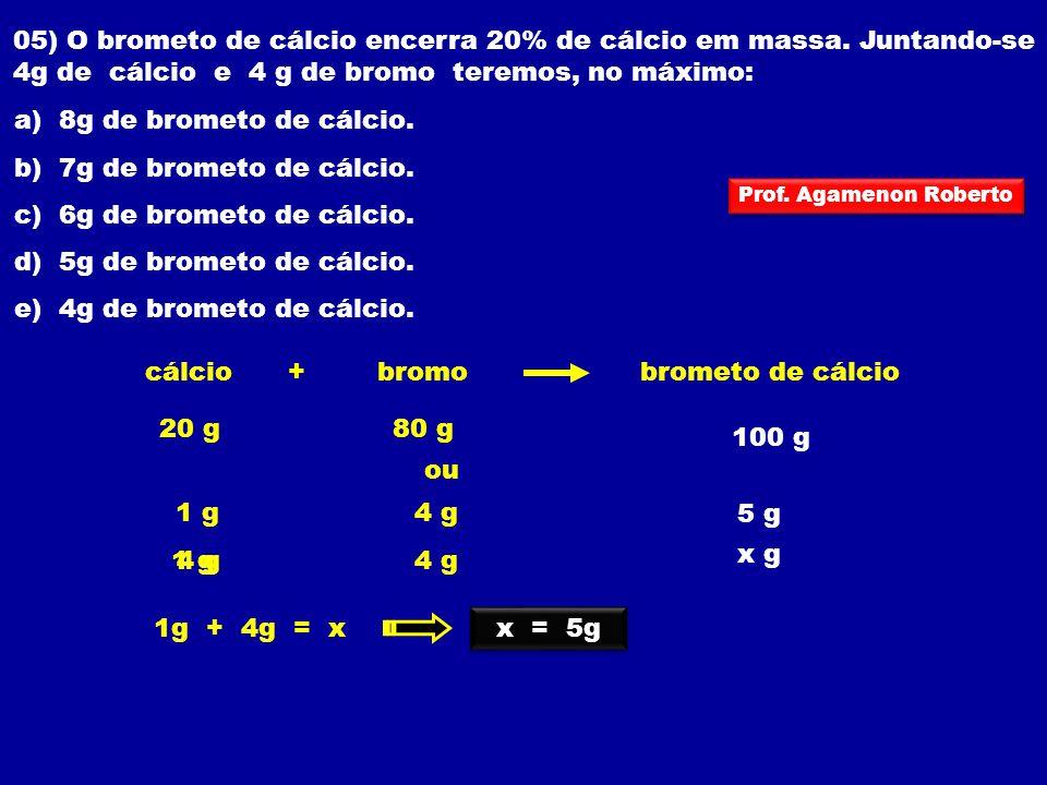 a) 8g de brometo de cálcio. b) 7g de brometo de cálcio.