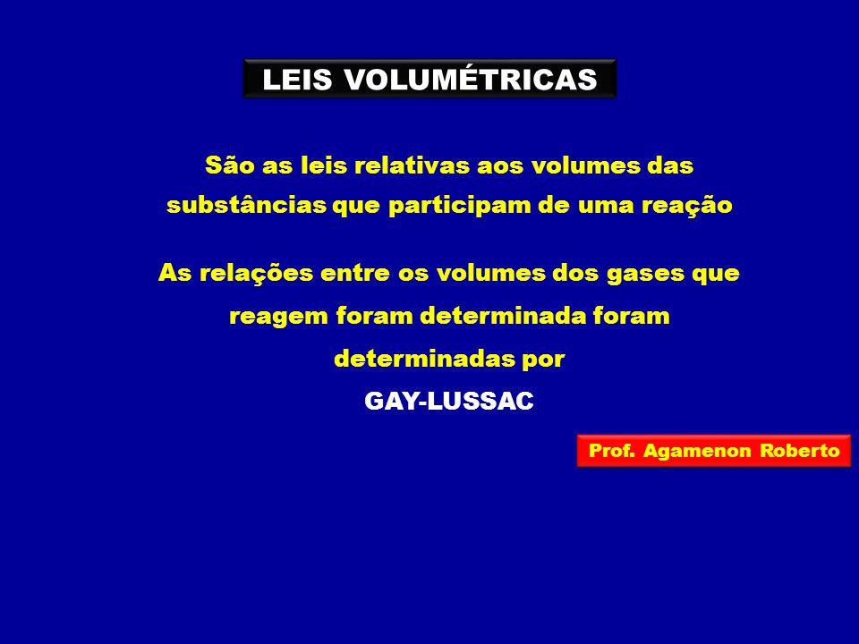 LEIS VOLUMÉTRICAS São as leis relativas aos volumes das substâncias que participam de uma reação.