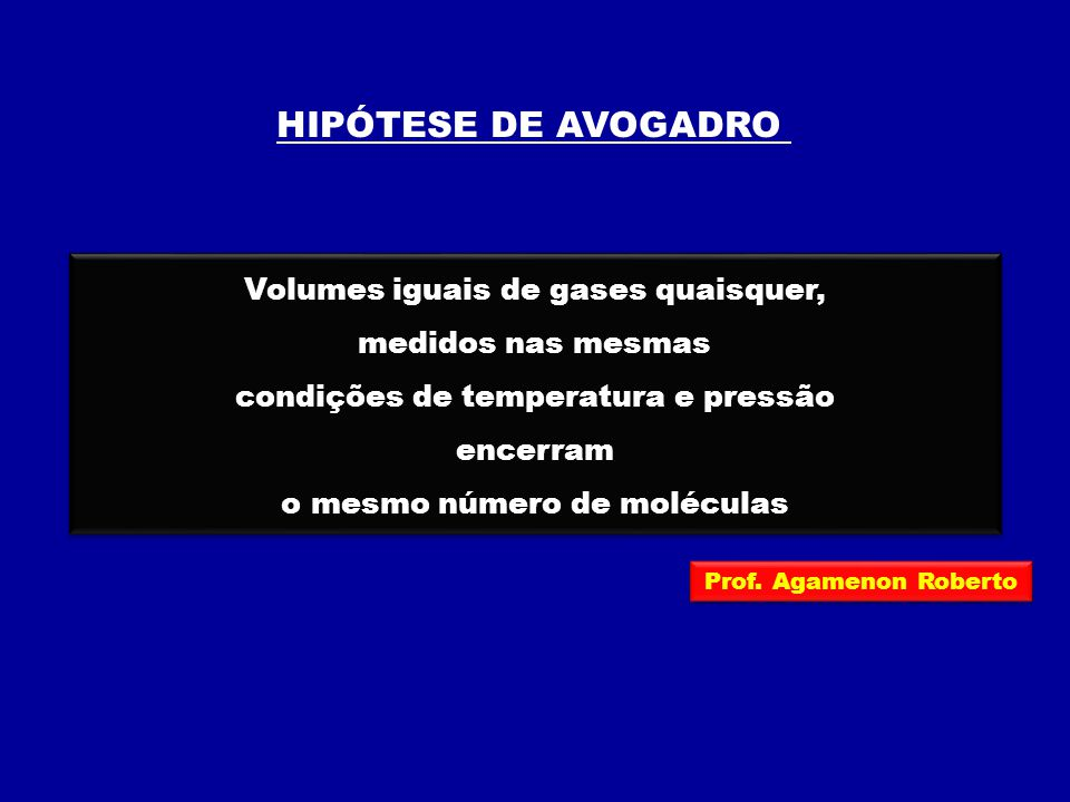 HIPÓTESE DE AVOGADRO Volumes iguais de gases quaisquer,
