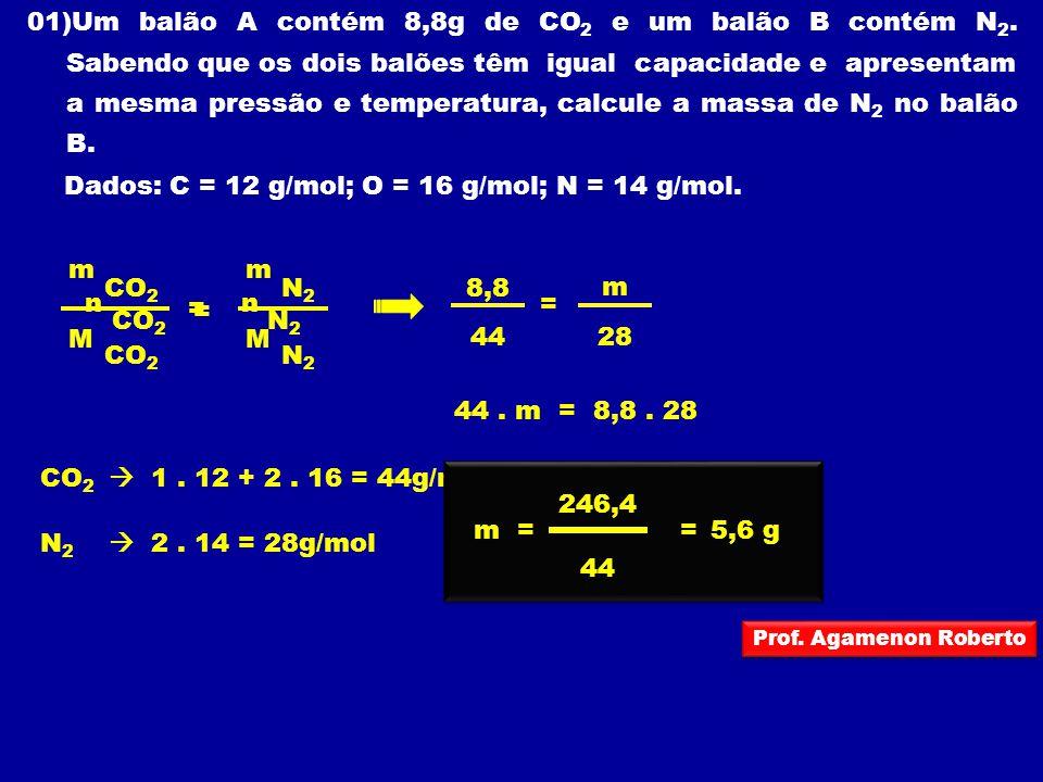 Dados: C = 12 g/mol; O = 16 g/mol; N = 14 g/mol.