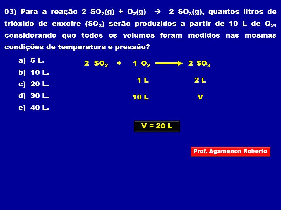 03) Para a reação 2 SO2(g) + O2(g)  2 SO3(g), quantos litros de trióxido de enxofre (SO3) serão produzidos a partir de 10 L de O2, considerando que todos os volumes foram medidos nas mesmas condições de temperatura e pressão