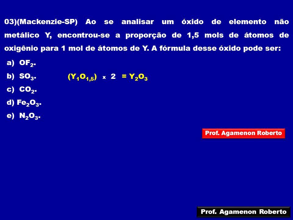 03)(Mackenzie-SP) Ao se analisar um óxido de elemento não metálico Y, encontrou-se a proporção de 1,5 mols de átomos de oxigênio para 1 mol de átomos de Y. A fórmula desse óxido pode ser: