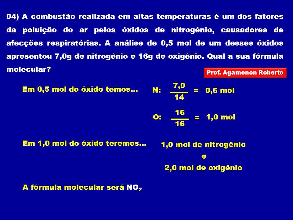 N: = 7,0 14 0,5 mol Em 0,5 mol do óxido temos... O: = 16 1,0 mol e