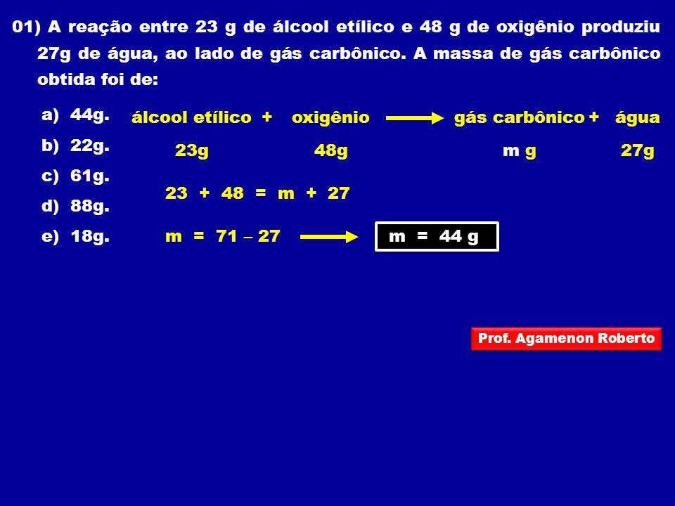 01) A reação entre 23 g de álcool etílico e 48 g de oxigênio produziu 27g de água, ao lado de gás carbônico. A massa de gás carbônico obtida foi de: