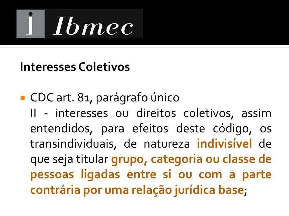 Interesses Coletivos CDC art. 81, parágrafo único.
