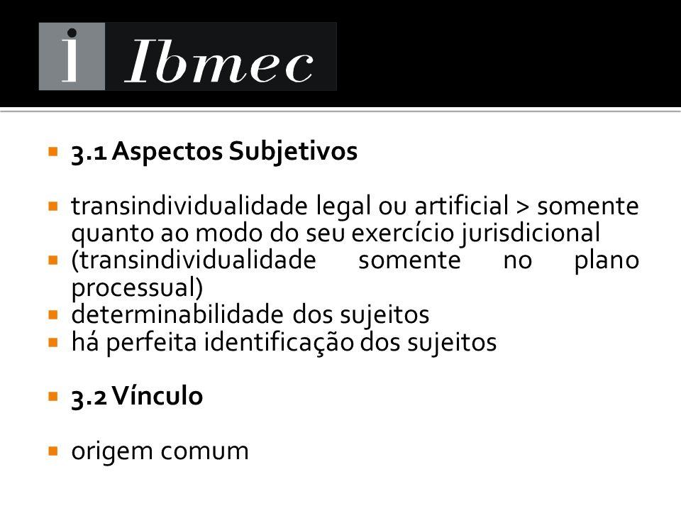 3.1 Aspectos Subjetivos transindividualidade legal ou artificial > somente quanto ao modo do seu exercício jurisdicional.