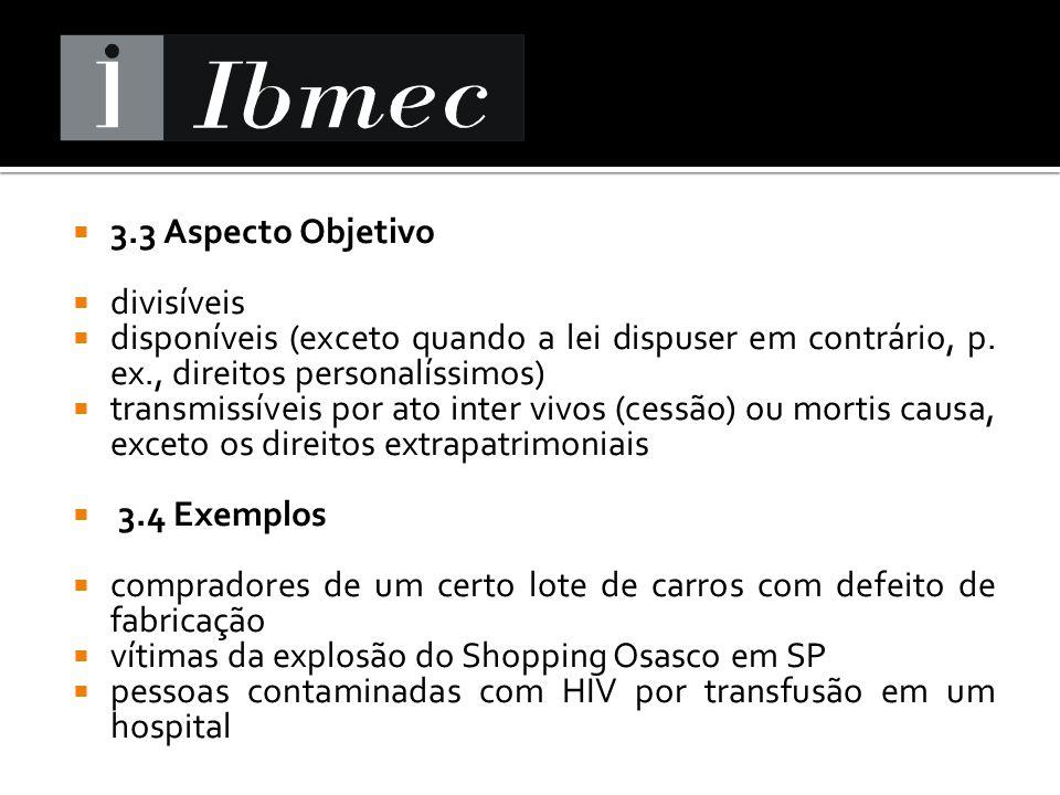 3.3 Aspecto Objetivo divisíveis. disponíveis (exceto quando a lei dispuser em contrário, p. ex., direitos personalíssimos)