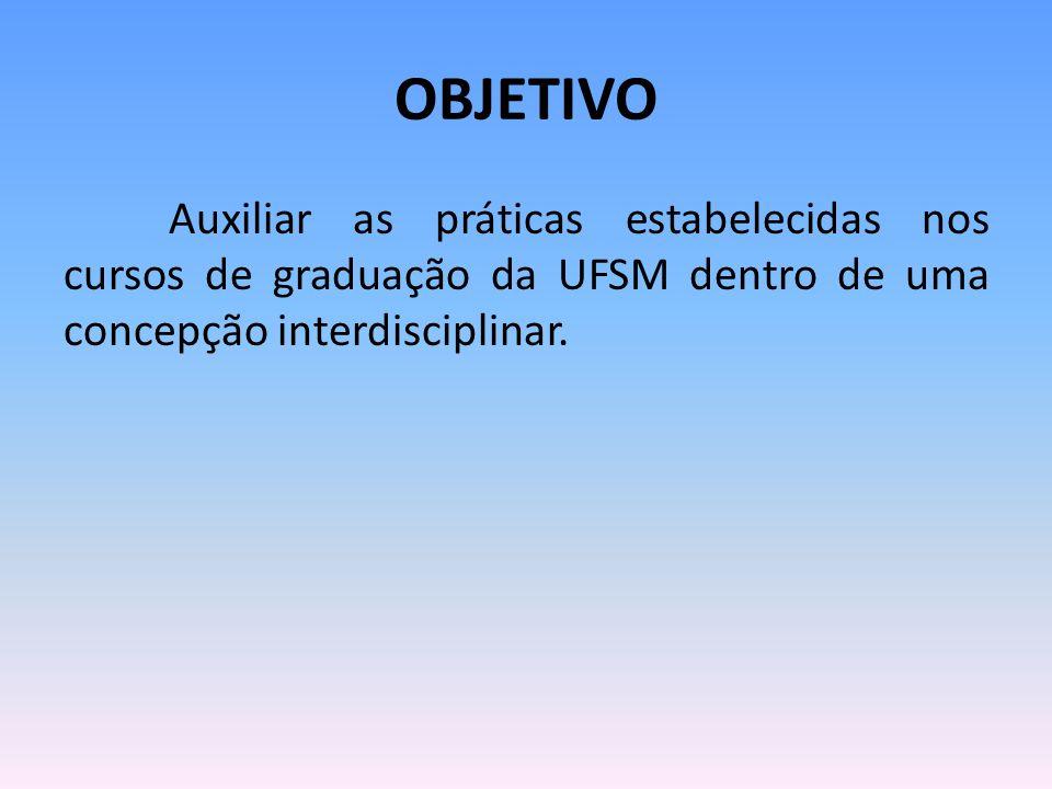OBJETIVO Auxiliar as práticas estabelecidas nos cursos de graduação da UFSM dentro de uma concepção interdisciplinar.
