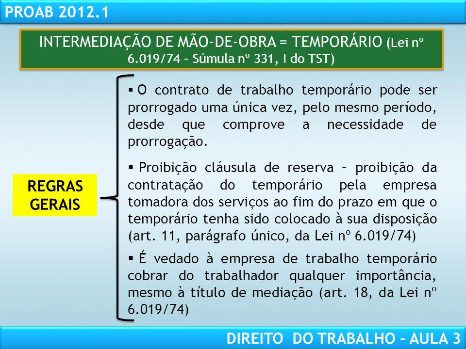 INTERMEDIAÇÃO DE MÃO-DE-OBRA = TEMPORÁRIO (Lei nº 6