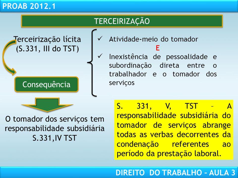 O tomador dos serviços tem responsabilidade subsidiária