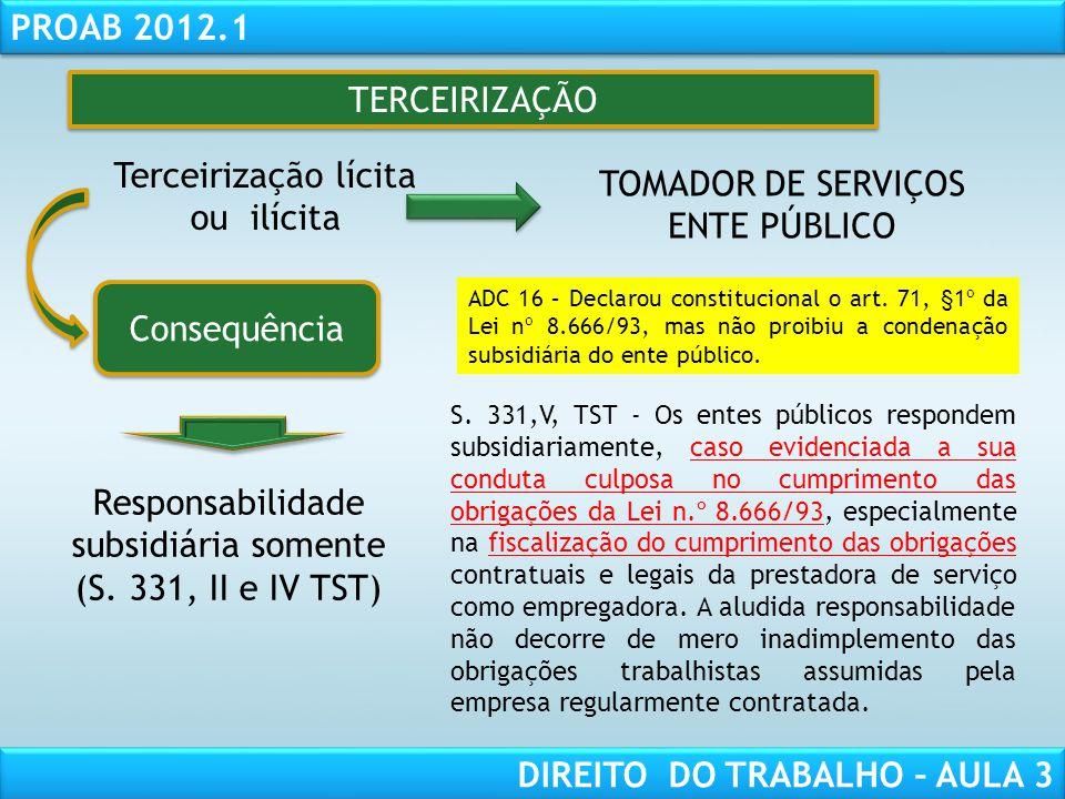 Terceirização lícita ou ilícita TOMADOR DE SERVIÇOS ENTE PÚBLICO