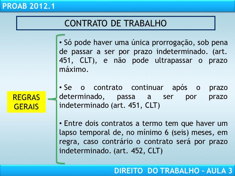 CONTRATO DE TRABALHO REGRAS GERAIS