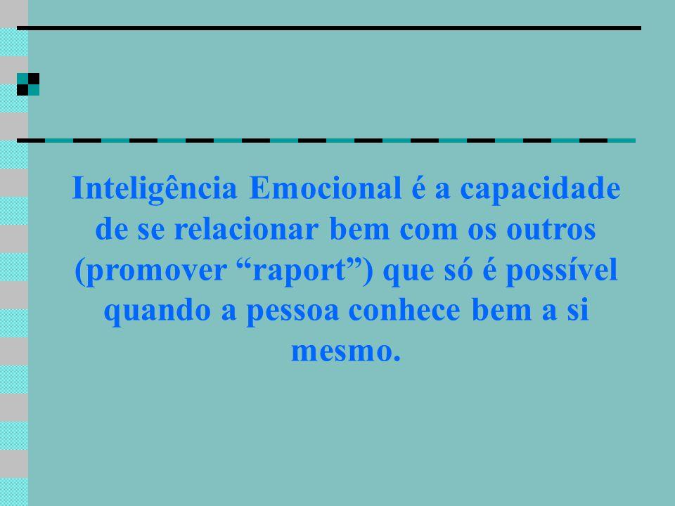 Inteligência Emocional é a capacidade de se relacionar bem com os outros (promover raport ) que só é possível quando a pessoa conhece bem a si mesmo.