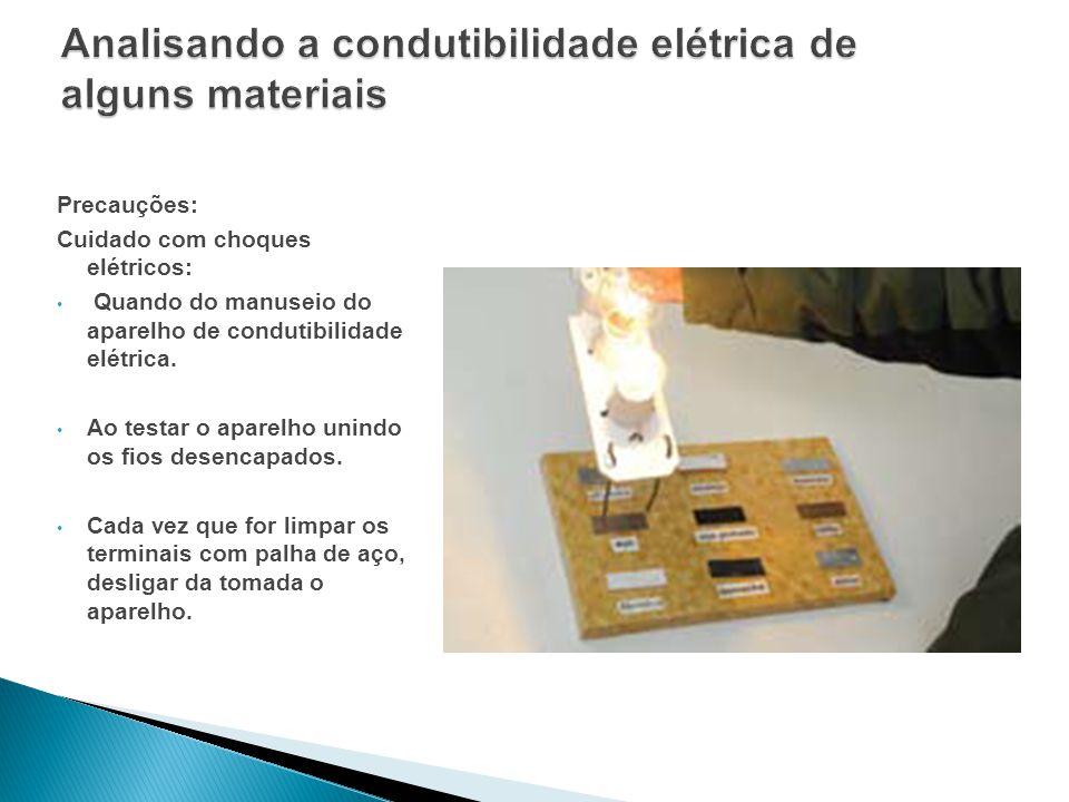 Analisando a condutibilidade elétrica de alguns materiais