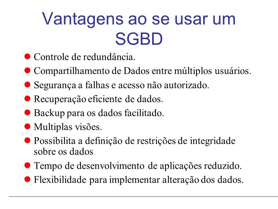 Vantagens ao se usar um SGBD