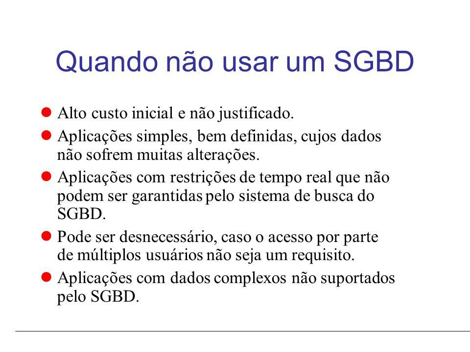 Quando não usar um SGBD Alto custo inicial e não justificado.