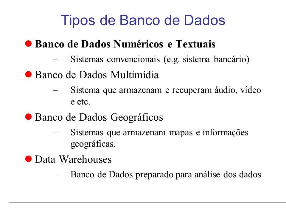 Tipos de Banco de Dados Banco de Dados Numéricos e Textuais