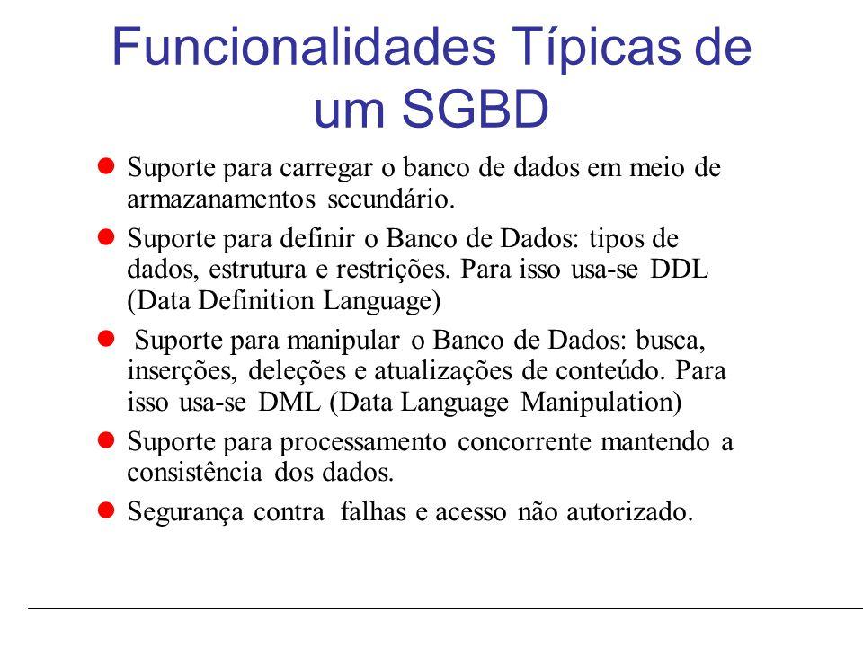 Funcionalidades Típicas de um SGBD