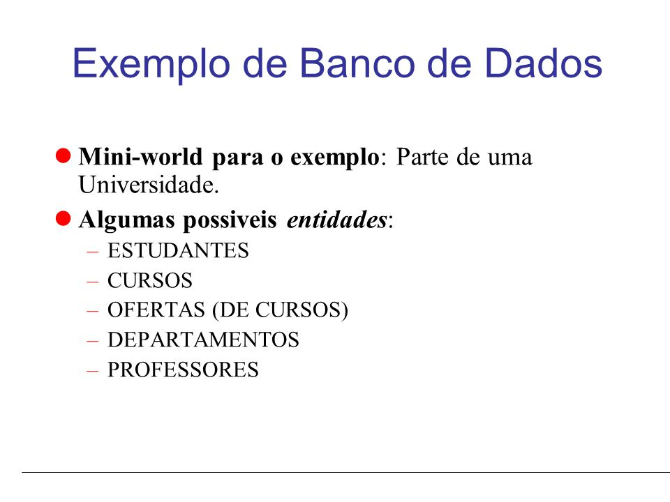 Exemplo de Banco de Dados