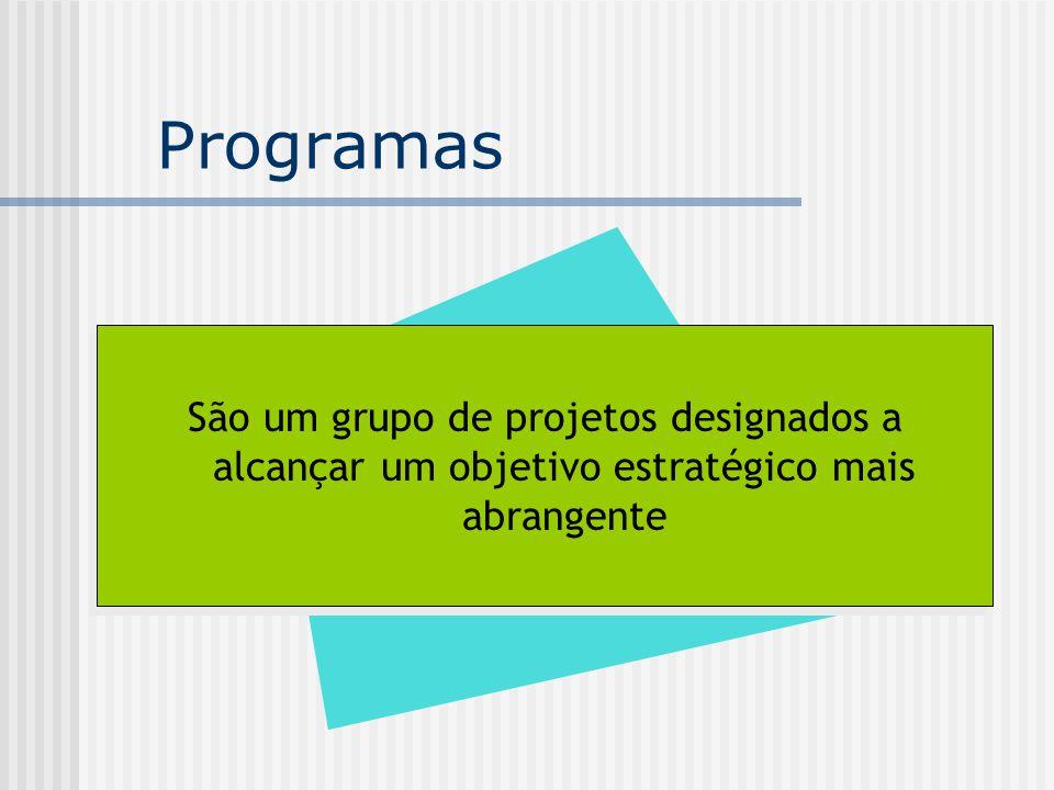 Programas São um grupo de projetos designados a alcançar um objetivo estratégico mais abrangente.