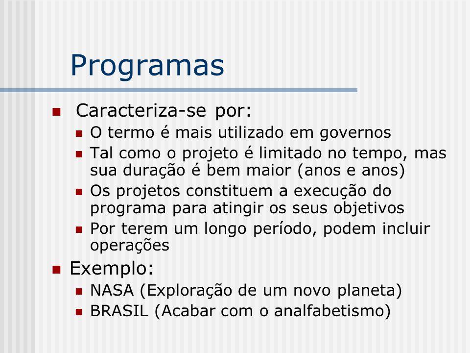 Programas Caracteriza-se por: Exemplo: