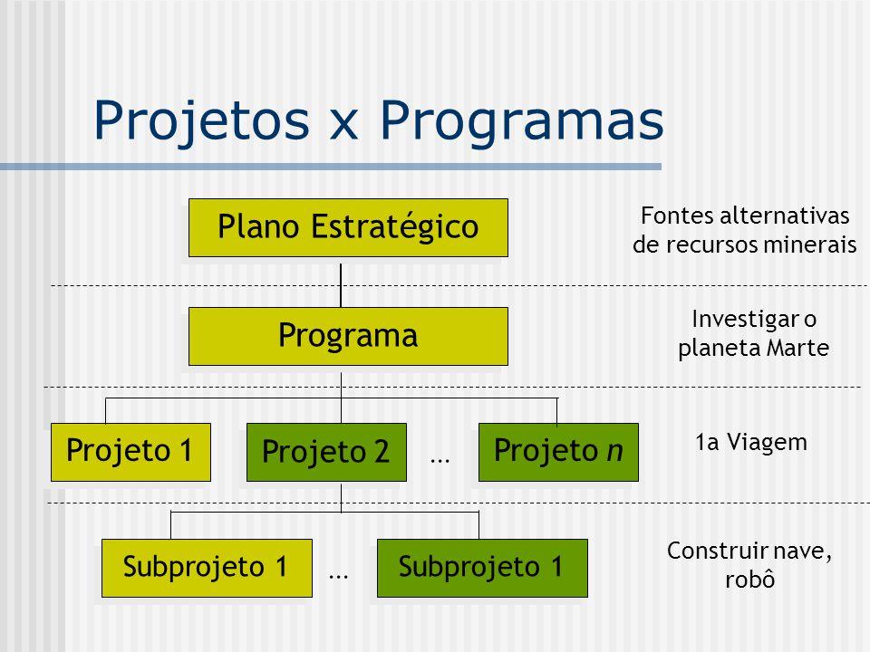 Projetos x Programas Plano Estratégico Programa Projeto n Projeto 1