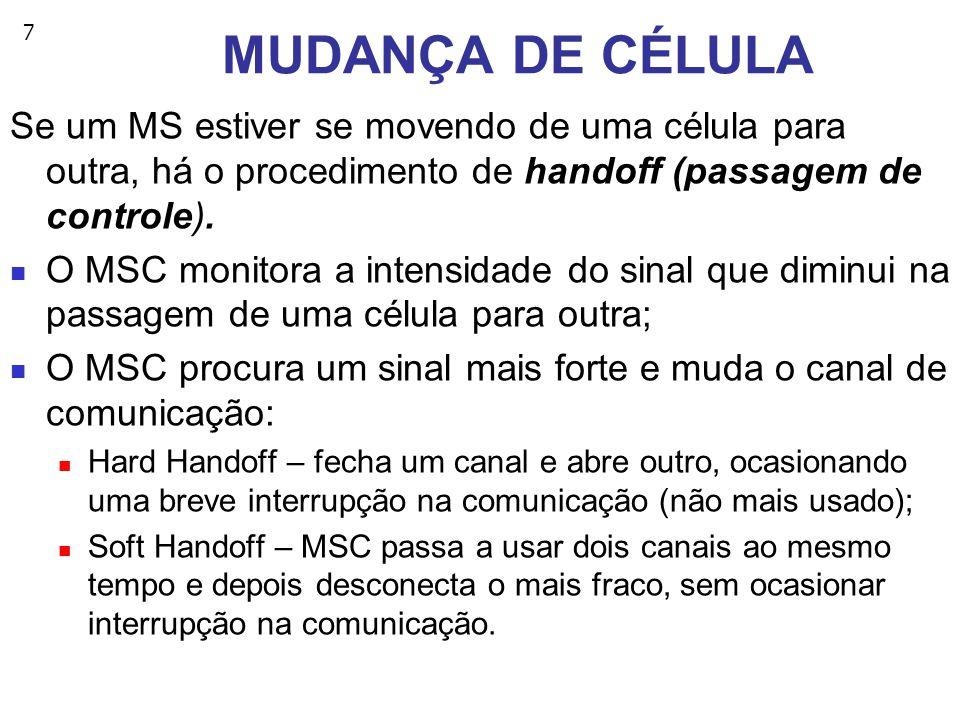 MUDANÇA DE CÉLULA Se um MS estiver se movendo de uma célula para outra, há o procedimento de handoff (passagem de controle).
