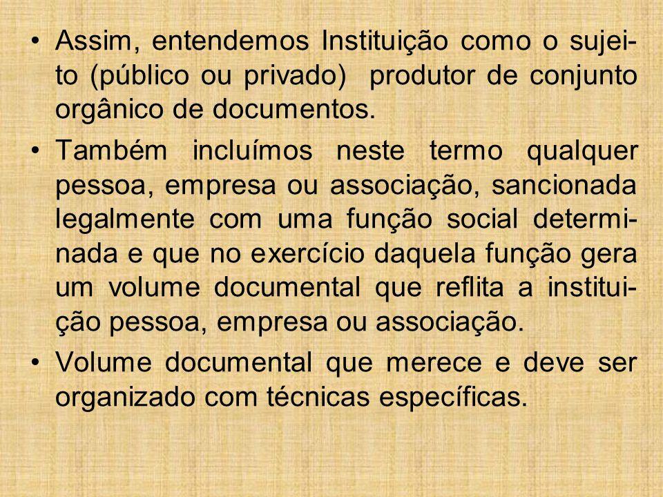 Assim, entendemos Instituição como o sujei-to (público ou privado) produtor de conjunto orgânico de documentos.