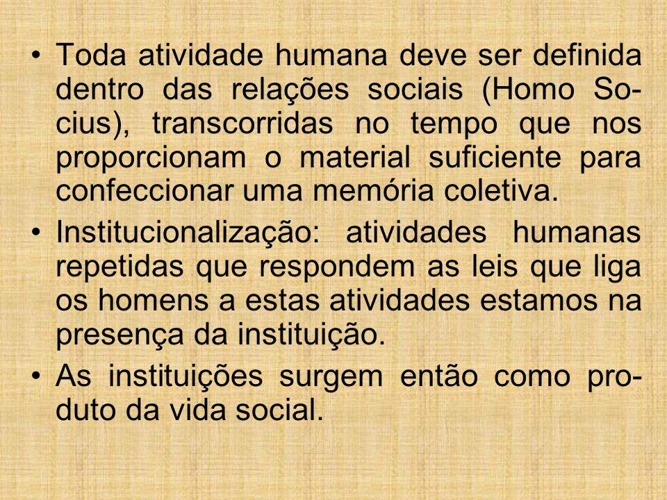 Toda atividade humana deve ser definida dentro das relações sociais (Homo So-cius), transcorridas no tempo que nos proporcionam o material suficiente para confeccionar uma memória coletiva.
