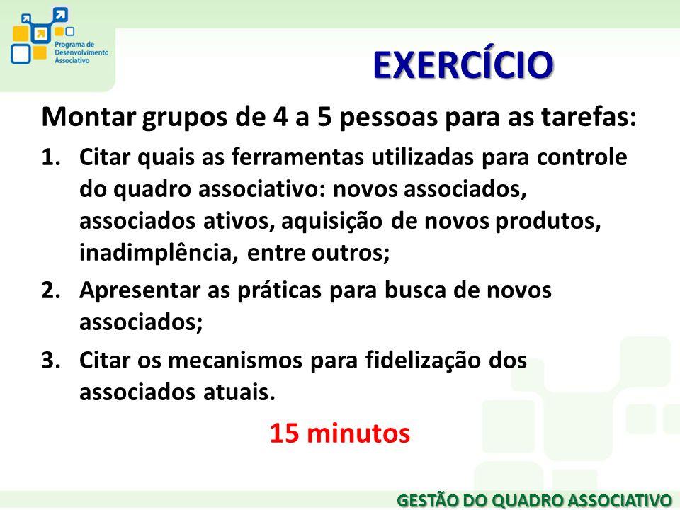 EXERCÍCIO Montar grupos de 4 a 5 pessoas para as tarefas: 15 minutos
