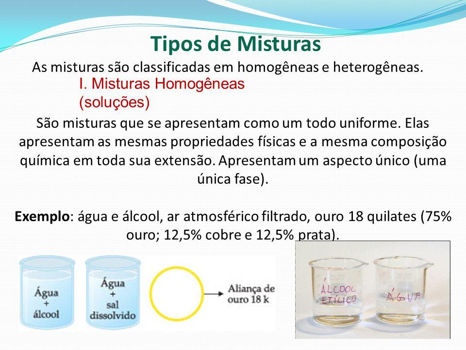 Tipos de Misturas As misturas são classificadas em homogêneas e heterogêneas.