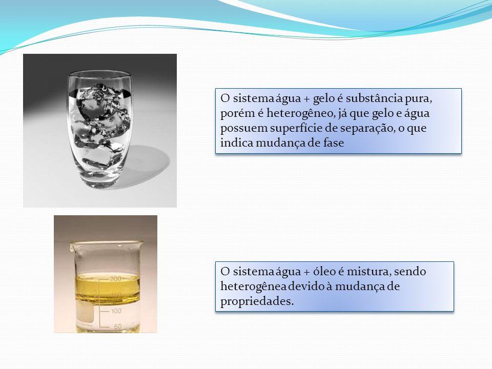 O sistema água + gelo é substância pura, porém é heterogêneo, já que gelo e água possuem superfície de separação, o que indica mudança de fase