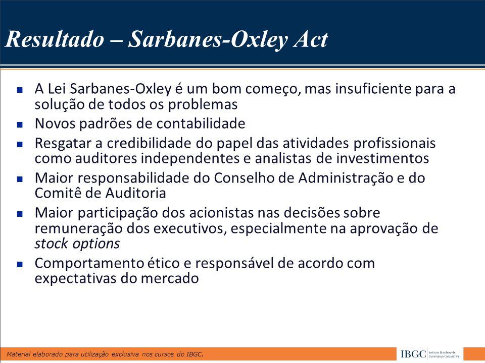 Resultado – Sarbanes-Oxley Act