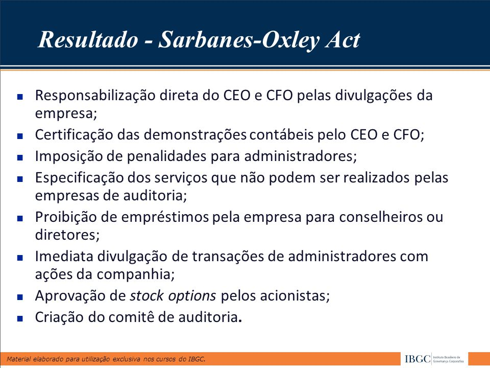 Resultado - Sarbanes-Oxley Act
