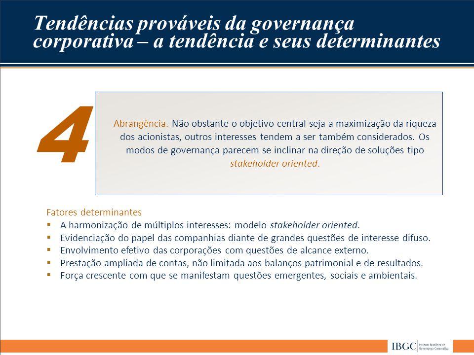 Tendências prováveis da governança corporativa – a tendência e seus determinantes