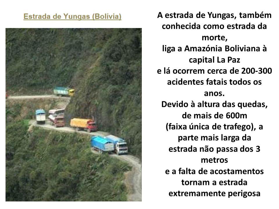 A estrada de Yungas, também conhecida como estrada da morte, liga a Amazónia Boliviana à capital La Paz e lá ocorrem cerca de 200-300 acidentes fatais todos os anos.