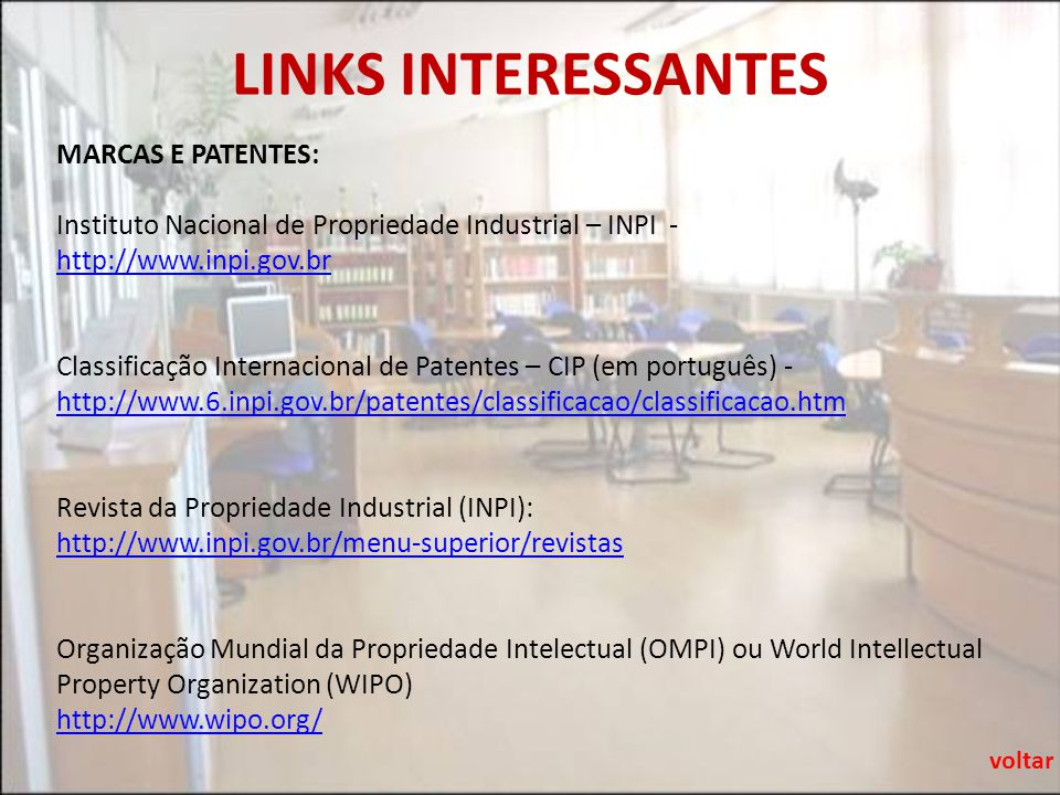 LINKS INTERESSANTES MARCAS E PATENTES: