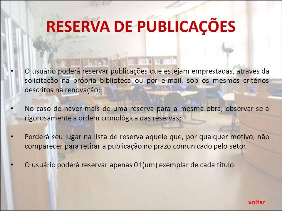 RESERVA DE PUBLICAÇÕES