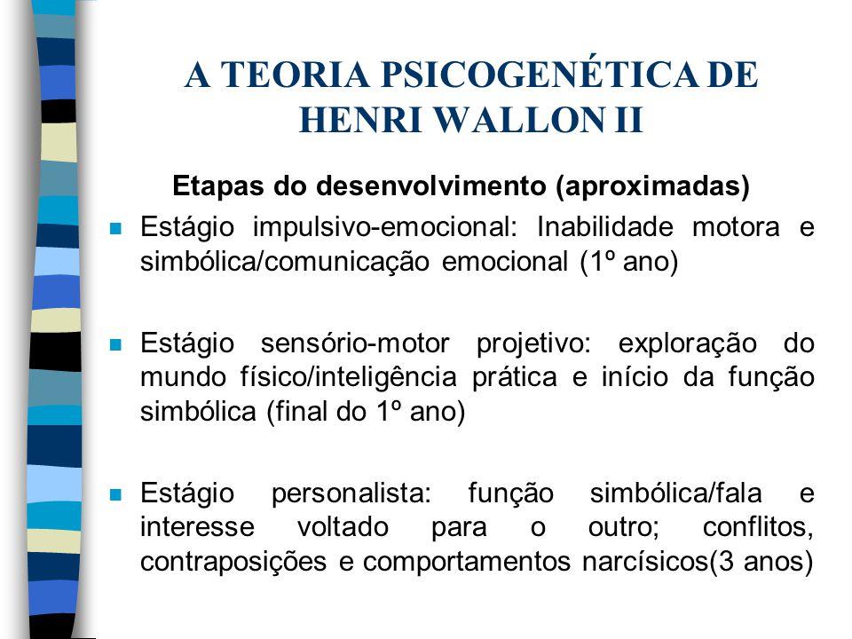 A TEORIA PSICOGENÉTICA DE HENRI WALLON II