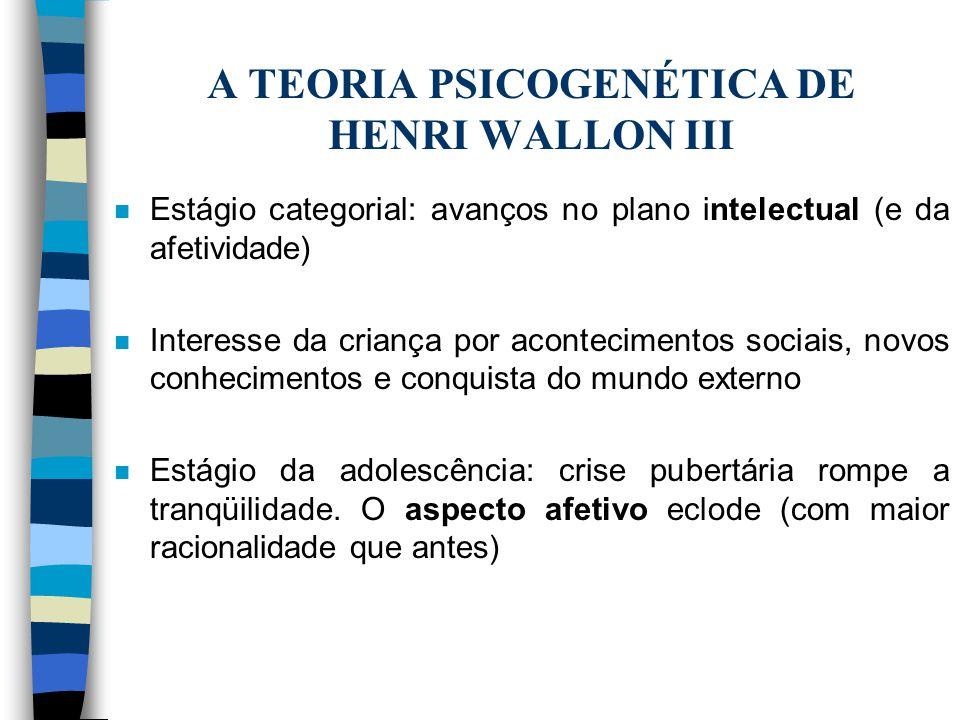 A TEORIA PSICOGENÉTICA DE HENRI WALLON III
