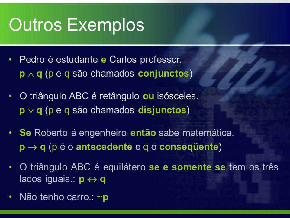 Outros Exemplos Pedro é estudante e Carlos professor.