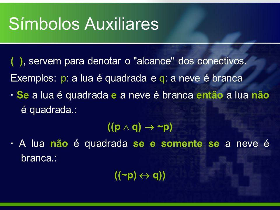 Símbolos Auxiliares ( ), servem para denotar o alcance dos conectivos. Exemplos: p: a lua é quadrada e q: a neve é branca.