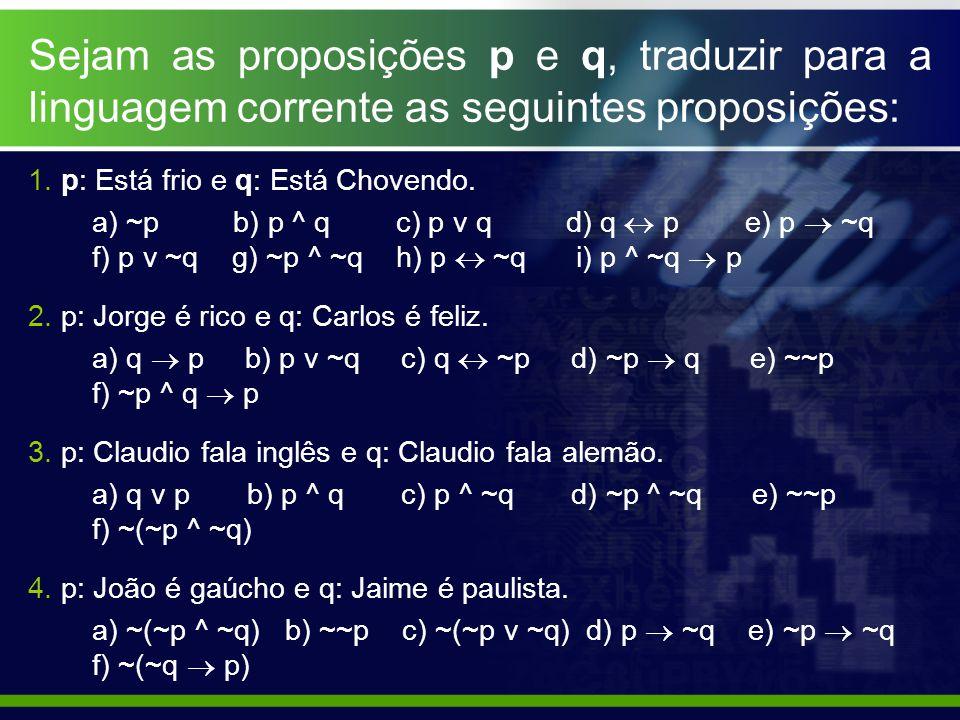 Sejam as proposições p e q, traduzir para a linguagem corrente as seguintes proposições:
