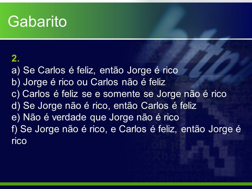 Gabarito 2. a) Se Carlos é feliz, então Jorge é rico