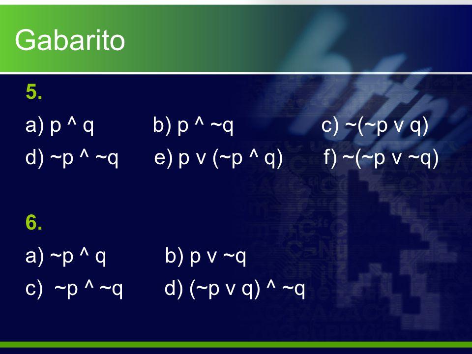 Gabarito 5. p ^ q b) p ^ ~q c) ~(~p v q)