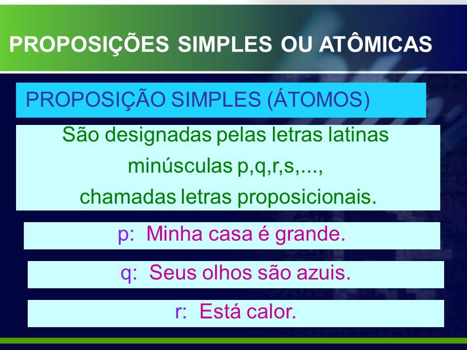 PROPOSIÇÕES SIMPLES OU ATÔMICAS