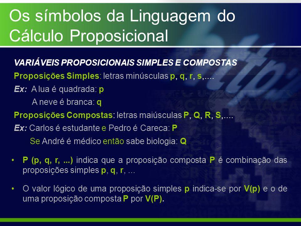Os símbolos da Linguagem do Cálculo Proposicional